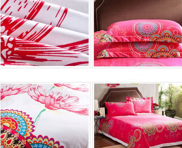 Big Flowers Pattern Top Class Cotton 4-Piece Duvet Cover Sets