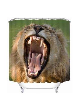 A Yawning Lion Print 3D Bathroom Shower Curtain
