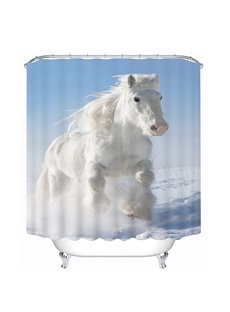 A White Horse Running Print 3D Bathroom Shower Curtain
