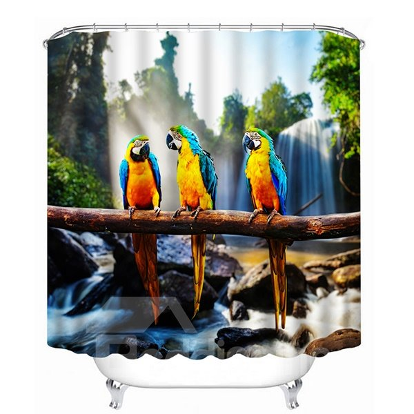 Three Parrots Standing on One Branch Print 3D Bathroom Shower Curtain