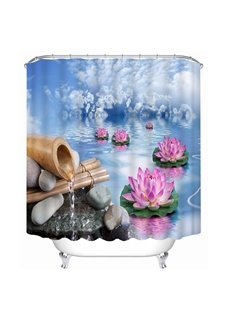 Blue Water and Pink Lotus Print 3D Bathroom Shower Curtain
