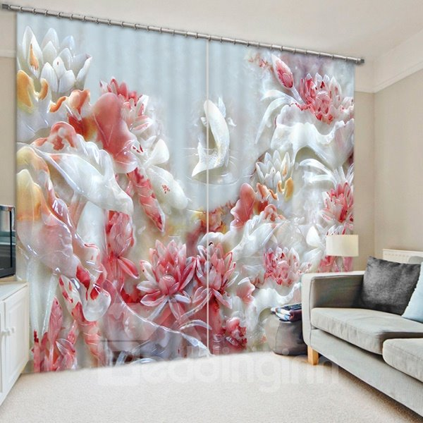 Jade Carving Flowers Pattern 3D Blackout Curtain