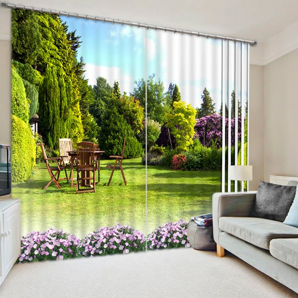 Beautiful Scenery of the Yard Print 3D Blackout Curtain