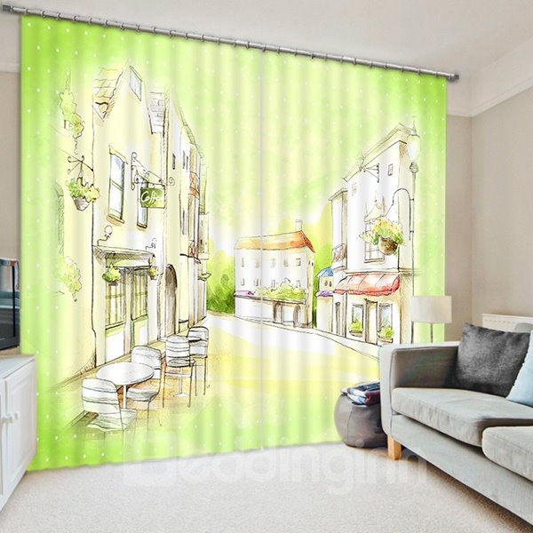 Hand-Painted Street View Print 3D Blackout Curtain