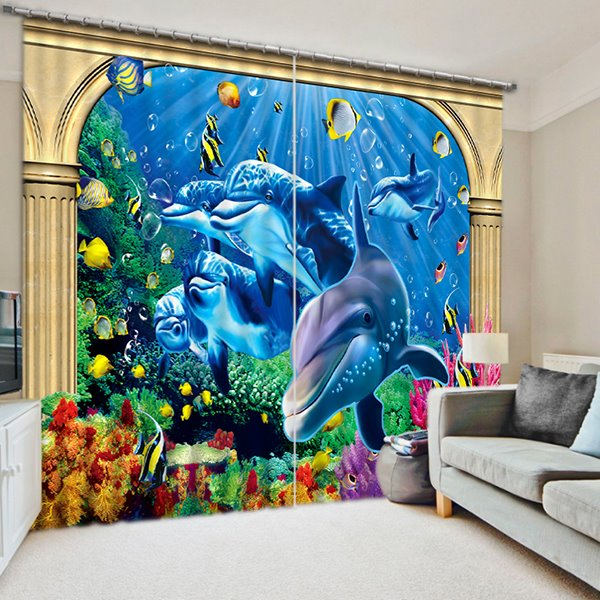 Cute Dolphins Playing Print 3D Blackout Curtain