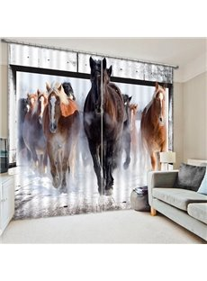 Realistic Wild Horses Galloping Print 3D Blackout Curtain