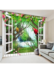 Colored Parrots Standing on the Tree out of the Window Print 3D Blackout Curtain