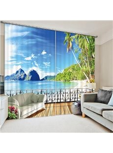 Beautiful Beach Scenery Outside the Balcony Print 3D Curtain