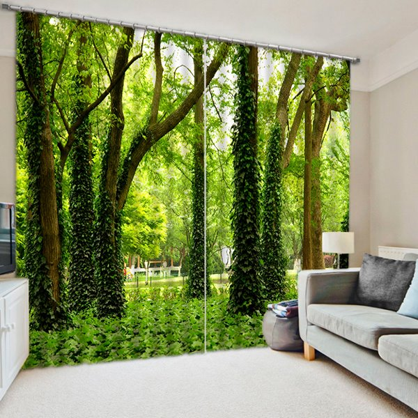 Green Trees and Grasses Print 3D Curtain