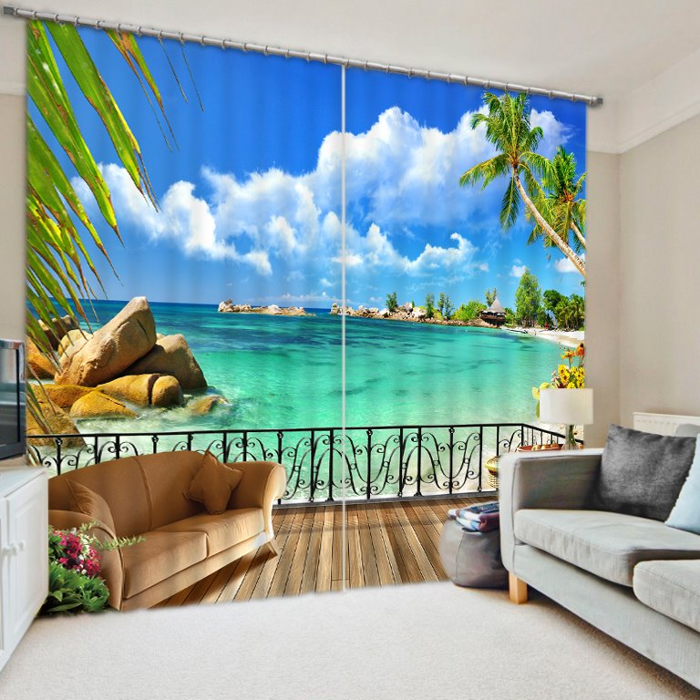 3D Blue Water and Palm Trees with Wonderful Beach Printed Custom Curtain for Living Room