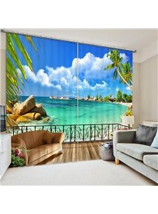 Beautiful Beach Scene out of the Window Print 3D Curtain