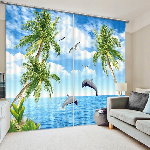 Dolphins Jump out of the Water Print 3D Blackout Curtain