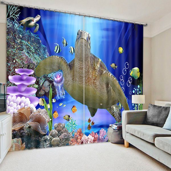 3D Big Sea Turtle and Corals Printed Sea World Scenery 2 Panels Decorative Curtain
