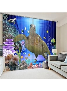 A Big Sea Turtle Swimming Print 3D Blackout Curtain