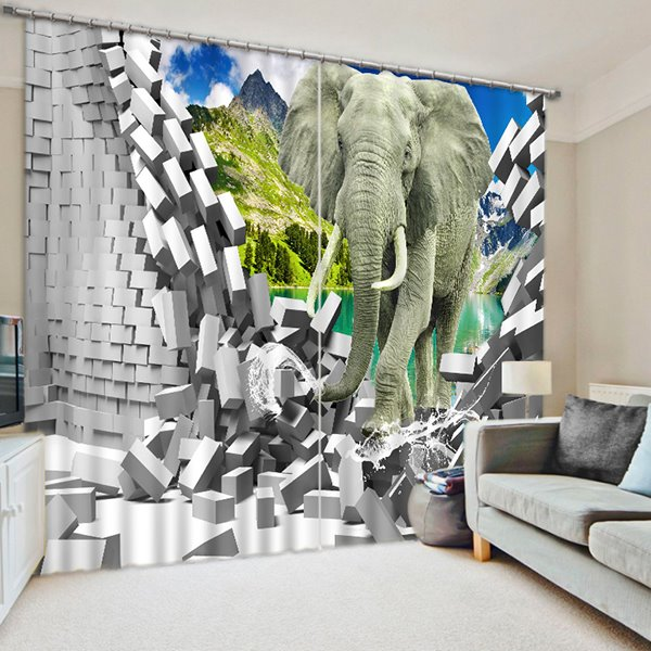 3D Running Elephant Printed Thick Polyester 2 Panels Decorative and Blackout Curtain