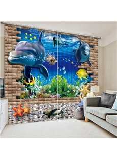 The Adorable Dolphins Print 3D Blackout Curtain