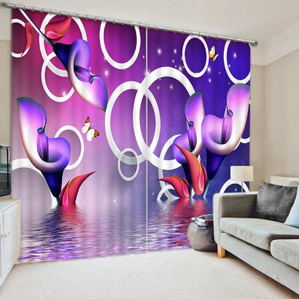 Special Design Purple Calla Lilies Print 3D Blackout Curtain