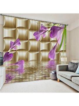 Purple Butterfly Orchids Print 3D Blackout Curtain