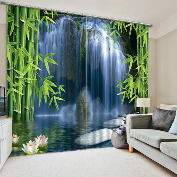 3D Spectacular Waterfalls and Green Bamboos Printed Polyester Decoration and Blackout Curtain