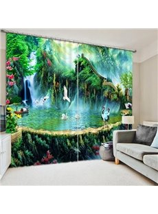 Ancient Chinese Hermit Life with Cranes Print 3D Blackout Curtain