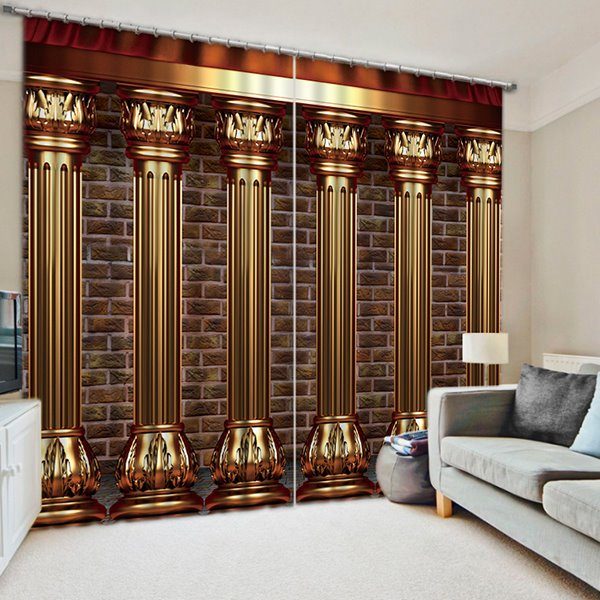 Luxury Roman Columns Printed European Style Thick Polyester Blackout Custom 3D Curtain