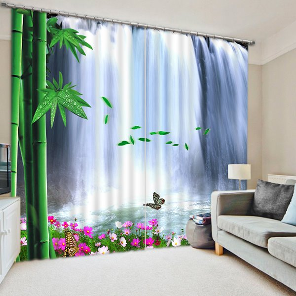 The Beautiful Waterfall and Green Bamboo Print 3D Blackout Curtain