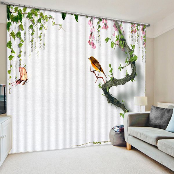 3D Bird and Butterflies Printed Thick Polyester Custom Living Room Curtain