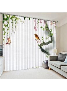 Little Bird Standing on the Tree Print 3D Blackout Curtain