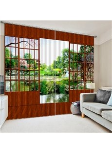 Classic Wooden Door and the Beautiful Scenery Outdoor Print 3D Blackout Curtain