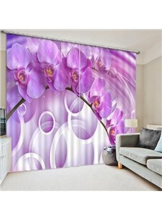 Beautiful Purple Phalaenopsis and White Circles Print 3D Curtain