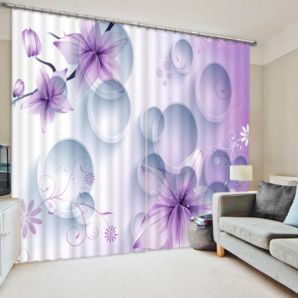 Concise Purple Flowers and White Geometric Printed 3D Curtain