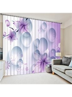 Concise Five Petals Purple Flowers Print 3D Blackout Curtain