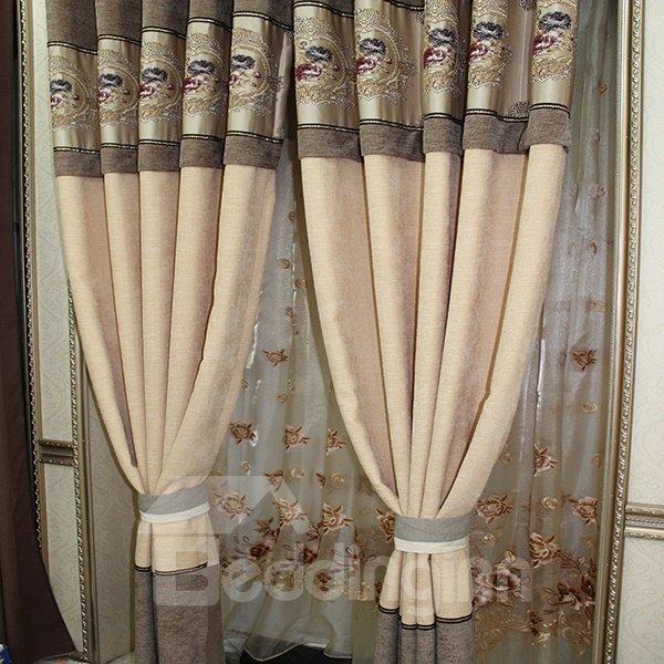 Chenille Jacquard Grommet Top Blackout Curtain Panel