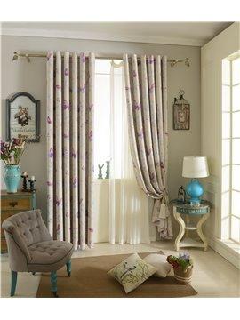 Duplex Printing Butterfly Pattern Grommet Curtain Panel