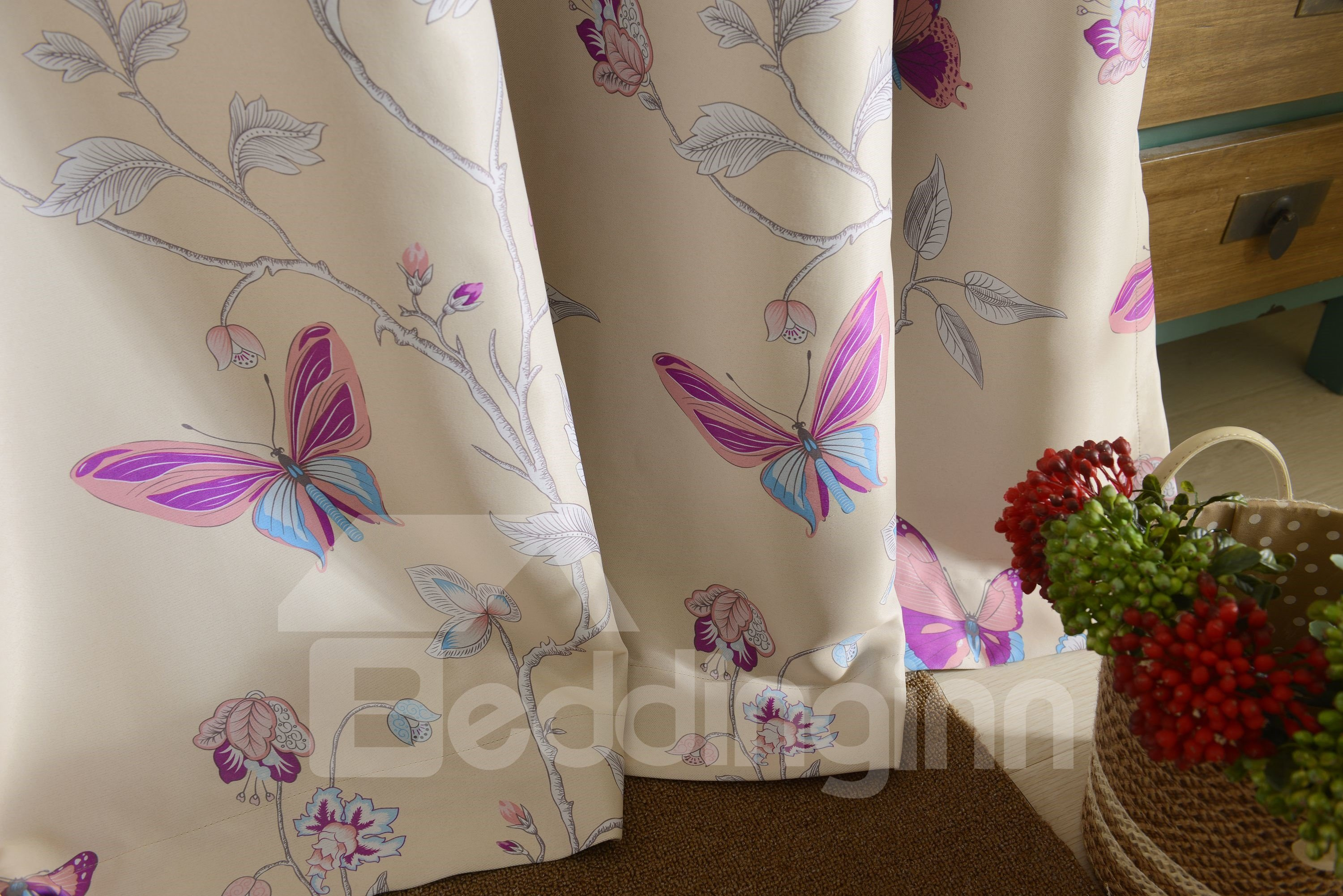 Duplex Printing Butterfly Pattern Grommet Curtain Panel