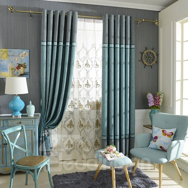 Chenille Jacquard Color Block Grommet Top Blackout Curtain Panel