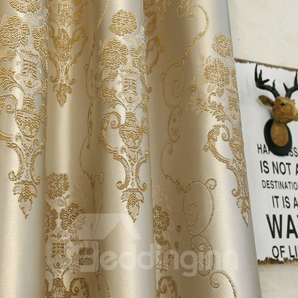 Luxury Emulation Silk Jacquard Grommet Curtain Panel