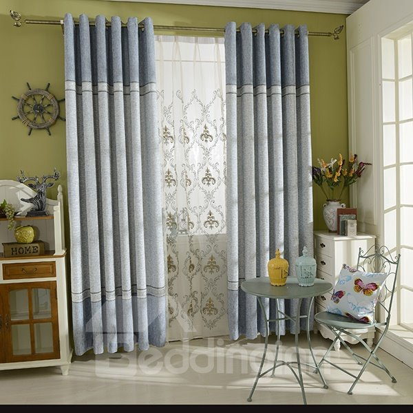 Concise Color Block Grommet Curtain Panel