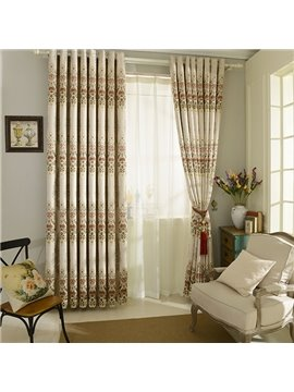 European Style Jacquard Grommet Top Blackout Curtain Panel