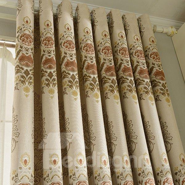 European Style Jacquard Grommet Top Blackout Curtain Panel
