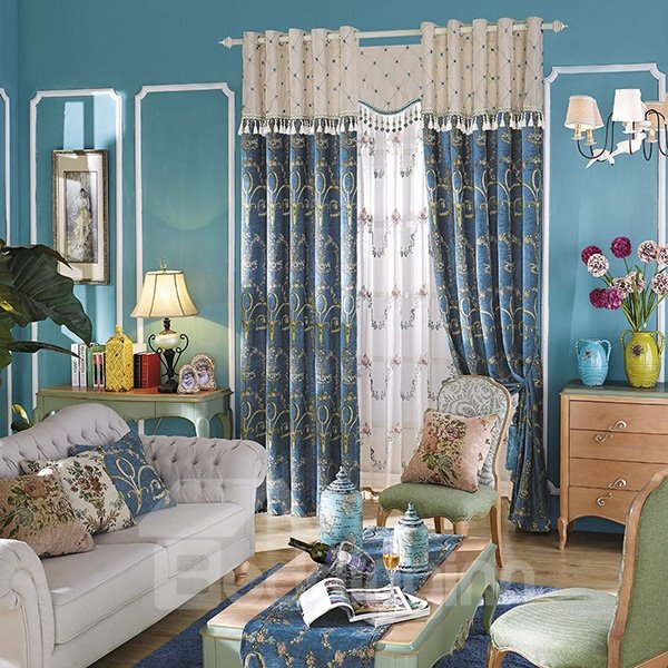 High-quality Jacquard Blue Grommet Curtain Panel