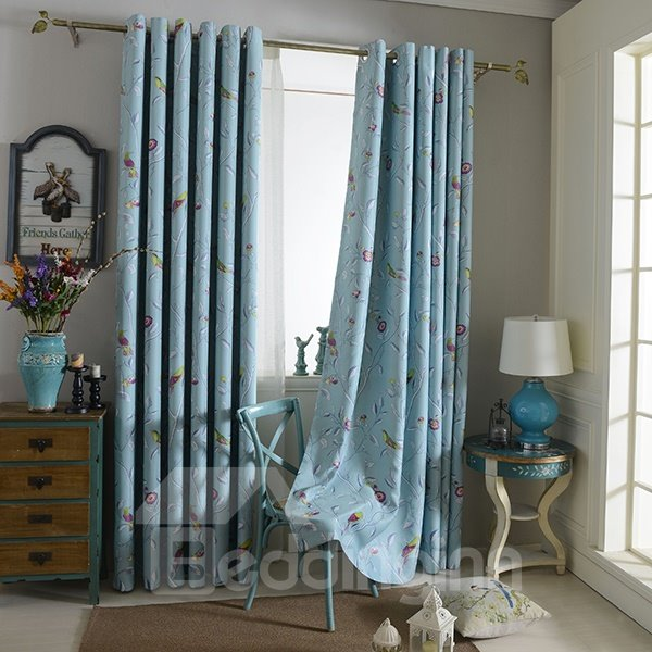 Lovely Birdie Printing Grommet Top Blackout Curtain Panel