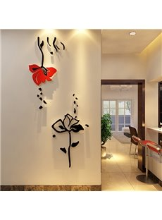 Delicate Acrylic Red and Black Roses Shape Wall Stickers