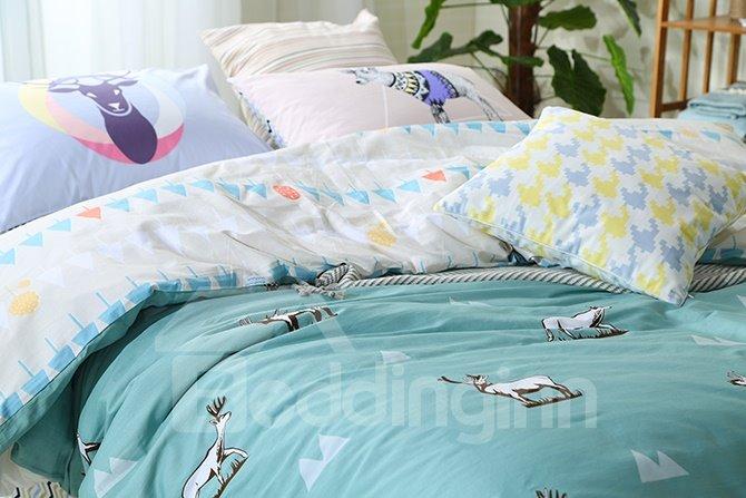 New Arrival Reindeer Print Blue 4-Piece Cotton Duvet Cover Sets