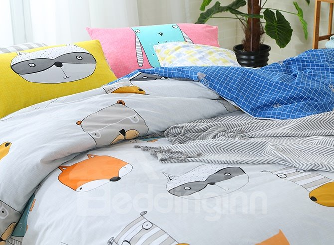 High Class Lovely Animals Pattern 4-Piece Cotton Duvet Cover Sets