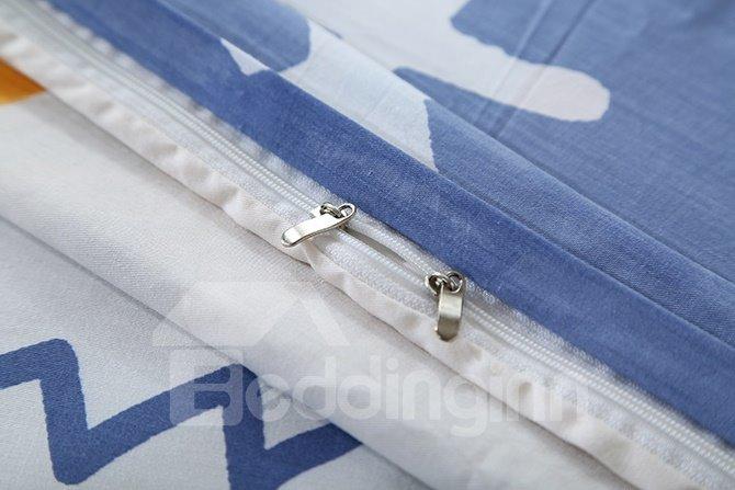 High Quality Simple Pattern Blue 4-Piece Cotton Duvet Cover