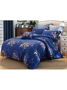 Charming Flower Print Blue 4-Piece Cotton Duvet Cover Sets