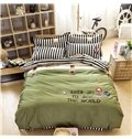 High Class Concise Letters Green 4-Piece Cotton Duvet Cover Sets