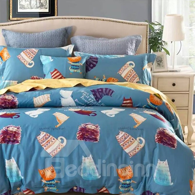 Fancy Cartoon Cat and Mouse Printing 4-Piece Cotton Duvet Cover Sets