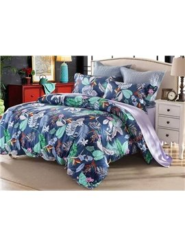 Pastoral Style Colorful Leaves Printing 4-Piece Cotton Duvet Cover Sets
